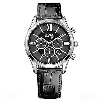 Hugo Boss 1513194 Silver And Black Textured Leather Ambassador Chronograph Men's Watch
