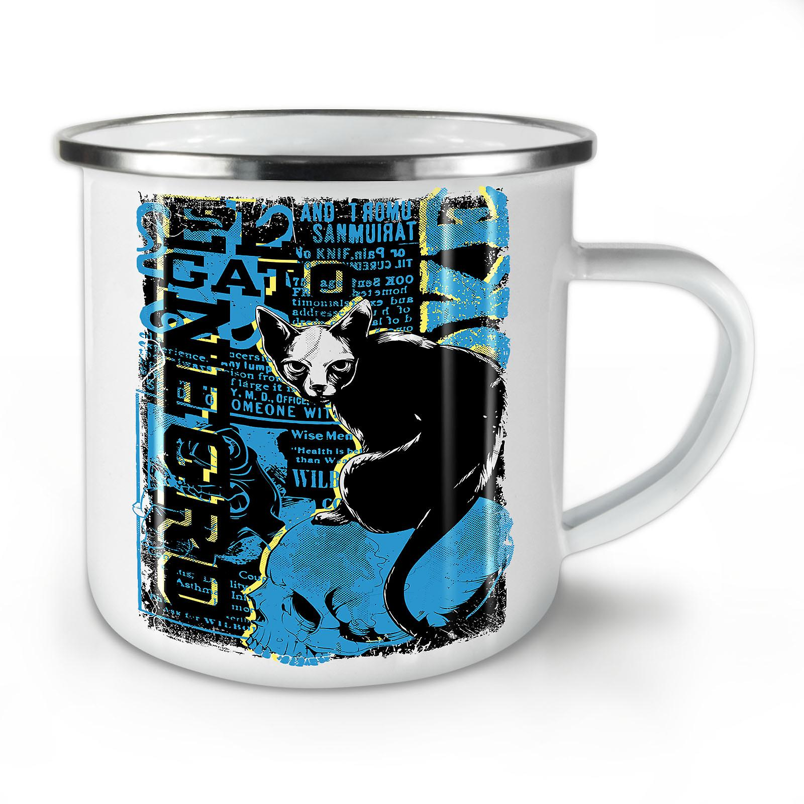 Nouveau Mug10 Chat OzWellcoda Effrayant Gato Émail Café Negro Whitetea thxsQdrC