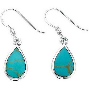 Beginnings Synthetic Turquoise Teardrop Drop Earrings - Turquoise/Silver