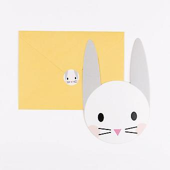 Mini Rabbit Bunny Face Invites w Yellow Envelopes Pack of 8 Easter Birthday