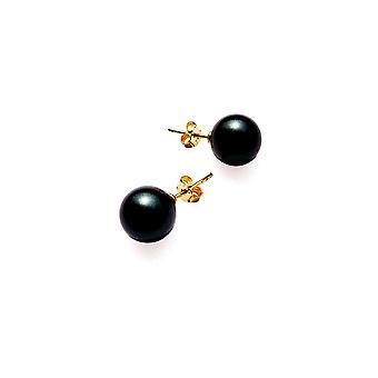 Earrings pearls yyyy black and plate yellow gold