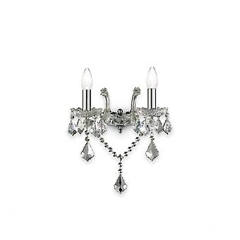 Ideal Lux Florian Twin Chrome Wall Light, Traditional Style Wall Bracket