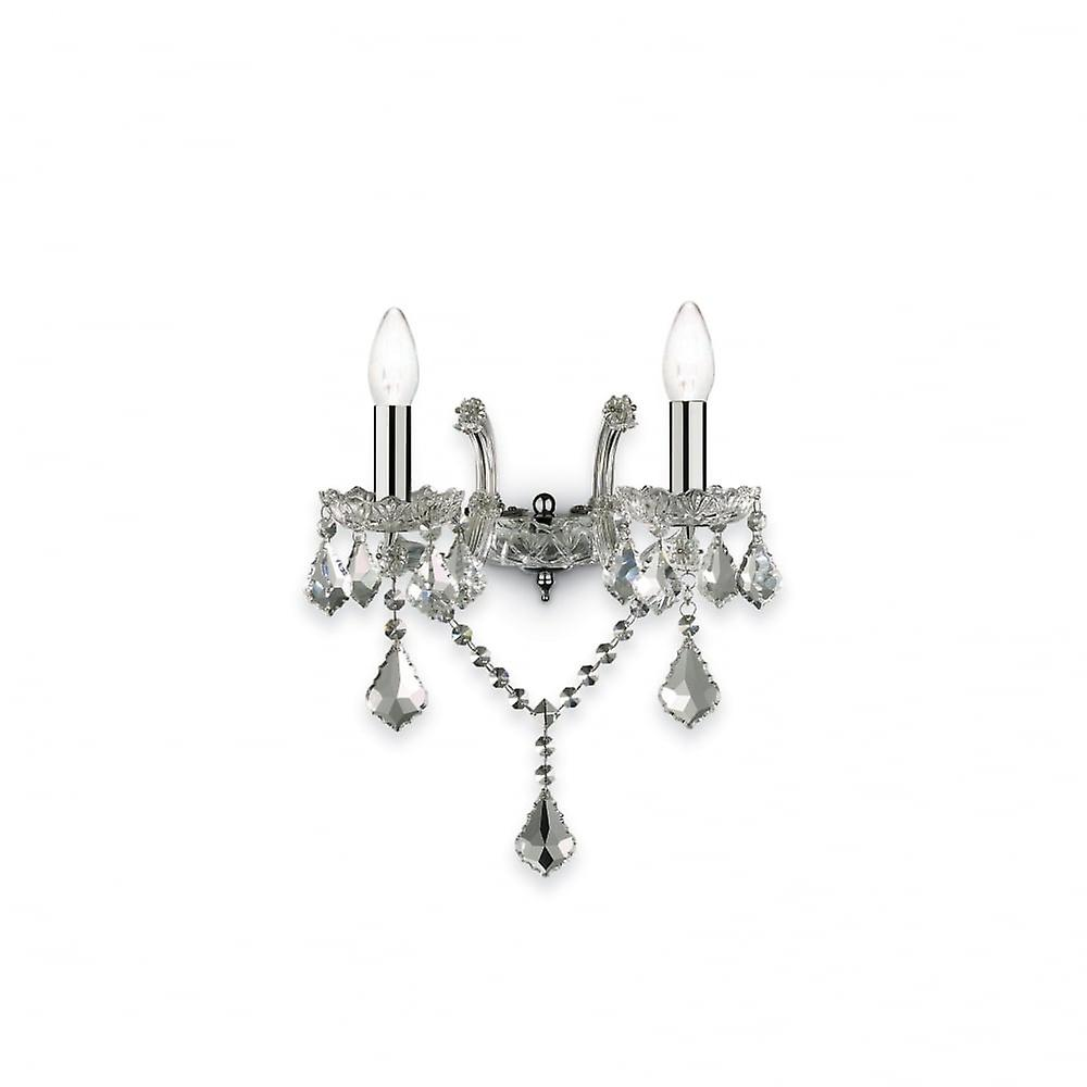 Ideal Lux Florian Twin Chrome Wall lumière, Traditional Style Wall Bracket