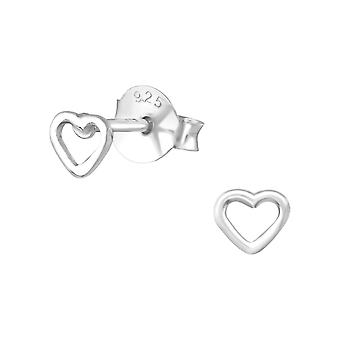 Heart - 925 Sterling Silver Plain Ear Studs - W30243x