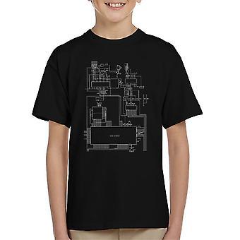Sega Genesis Computer Schematic Kid's T-Shirt