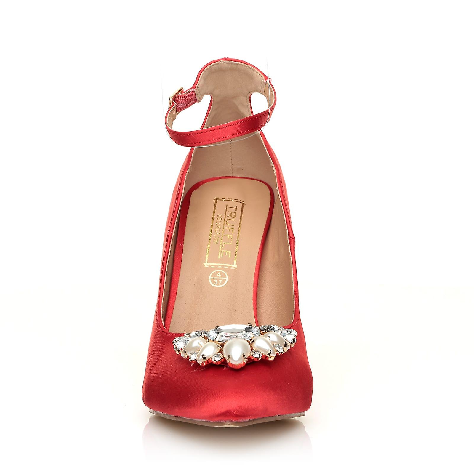 Satin with Pumps Trim Diamante Pearl BROACH Chunky Red and High Heel 7BWwxp5q