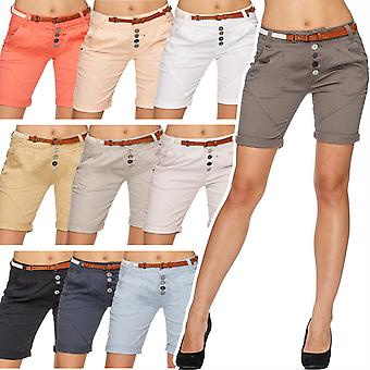 Women Chino shorts Hot Pants Bermuda Capri pants belt knee-length short