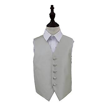 Silver Solid Check Wedding Waistcoat for Boys