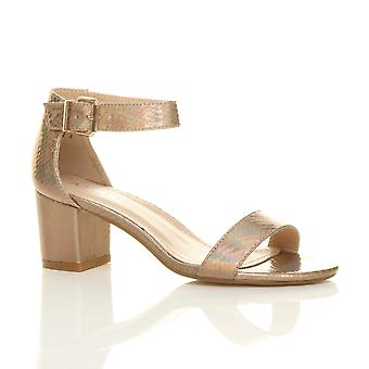 Ajvani kvinners lav midt blokkere hæl ankelselen spenne bryllup brudepike kveld parti strappy sandaler