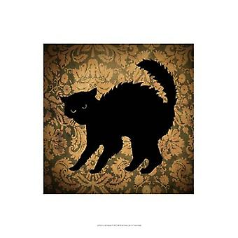 Cat & Damask Poster Print by Vision studio (13 x 19)
