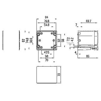 Build-in casing 84 x 82 x 85 Polycarbonate (PC) Light grey (RAL 7035)