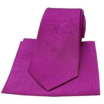 David Van Hagen Diagonal Twill Woven Tie and Pocket Square Set - Magenta