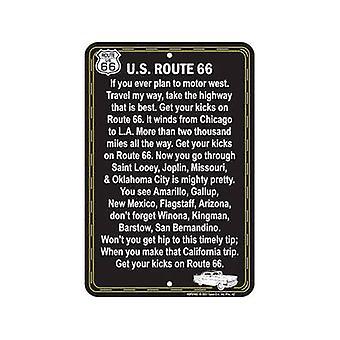 Route 66 (chant lyrique) en relief panneau métallique