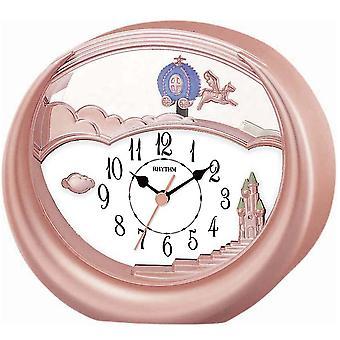 Rytm 7719/18 tabela zegar kwarcowy z wahadła różowe różowe złoto kolory