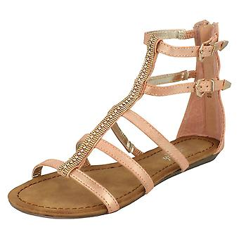 Ladies Savannah Double Buckle Strap Jewel Fronted Sandals