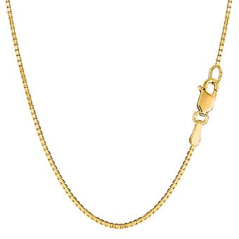 14 k Keltainen Solid kulta peili laatikko ketjun kaulakoru, 1,2 mm