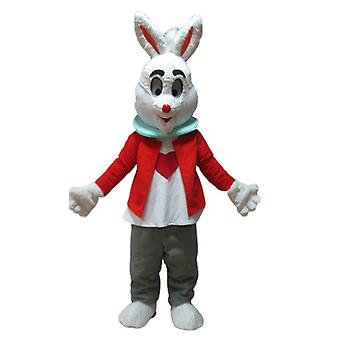 SPOTSOUND White Rabbit mascot, with a red jacket and gray pants