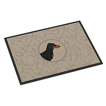 Dachshund In the Kitchen Indoor or Outdoor Mat 24x36