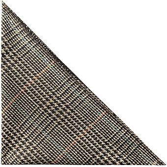 Brown & White Dogtooth Check Tweed Pocket Square, Handkerchief