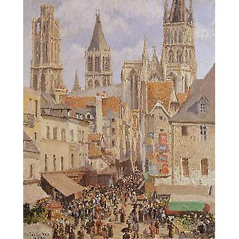The Old Marketplace in Rouen and the,Camille Pissarro,81x65cm