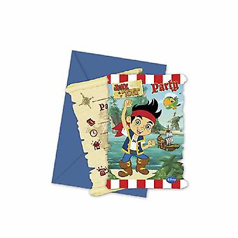 Captain Jake Neverland Pirate Party invitation cards 6 piece children birthday theme party