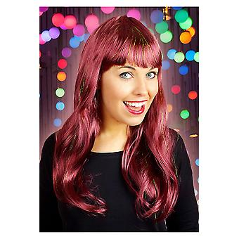 Wigs  Long wig with fringe bordeaux