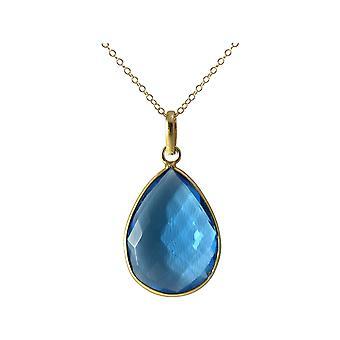 Gemshine Halskette Blautopas Quarz Edelstein Tropfen. Anhänger aus 925 Silber oder hochwertig vergoldet an 60 cm Kette. Qualitätsvoller Schmuck Made in Spain
