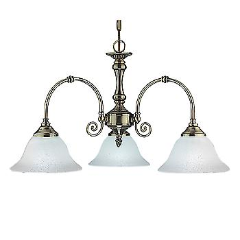 Searchlight 9353-3 Traditional Antique Brass 3 Light Ceiling Pendant