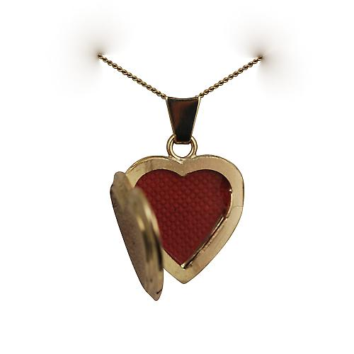 18ct Gold 17x17mm plain flat heart shaped Locket with a curb Chain 16 inches Only Suitable for Children