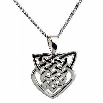 Silver 20x19mm Celtic knot Pendant with a curb Chain 18 inches