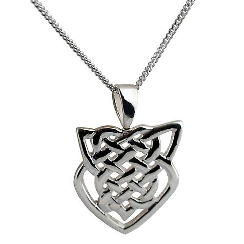 Silver 20x19mm Celtic knot Pendant with a curb Chain 20 inches