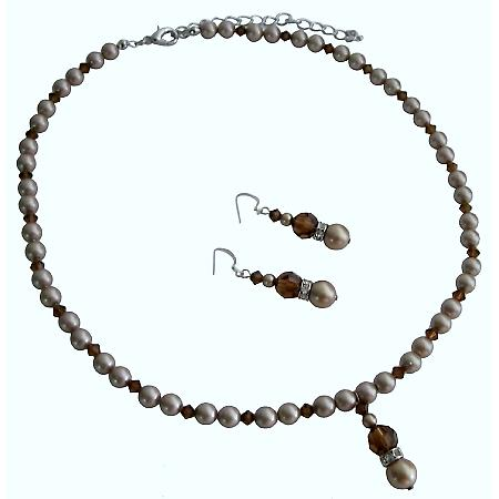 Powder Almond Pearls Smoked Topaz AB Crystals Handcrafted Wedding Set
