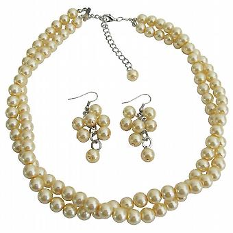 01797831 Brudepige smykker i gule perler Twisted halskæde med drue øreringe