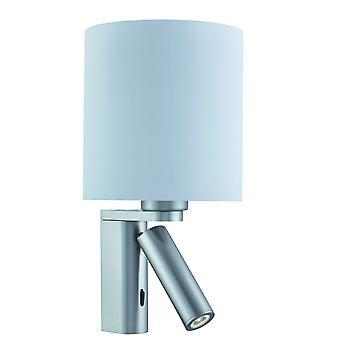 Luz de parede prata cetim com lâmpada de leitura ajustável - holofote 0991SS