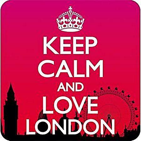 Keep Calm and Love London funny drinks mat/coaster    (dm)