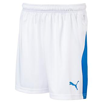PUMA League s Jr kids of soccer shorts white-electric Blau