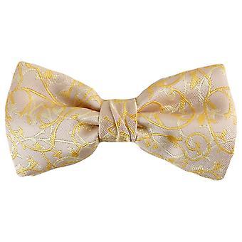 Knightsbridge Neckwear Floral Polyester Bow Tie - Cream/Gold