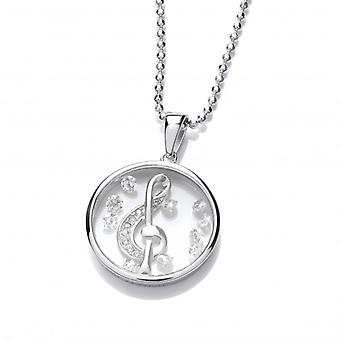 Cavendish French Celestial Silver and CZ Treble Clef Pendant with Silver Chain