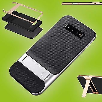 Für Samsung Galaxy S10 Plus G975F 6.4 Zoll Standing Hybrid Case 2teilig Outdoor Silber Tasche Hülle Cover Schutz