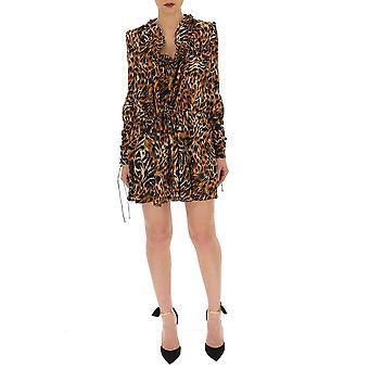 Saint Laurent Leopard Silk Dress