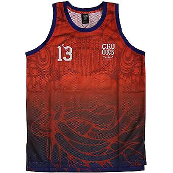 Crooks & Castles Trece Basketball Jersey Tank Top True Red