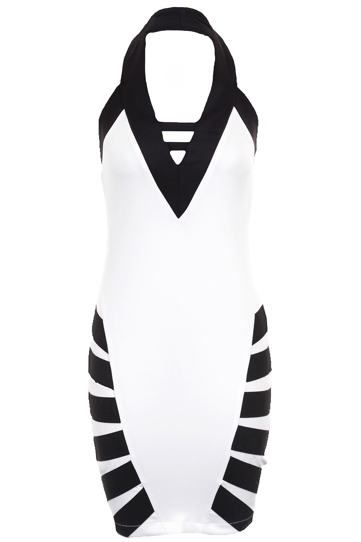 Ladies Halter Neck Black White Side Stripe Low Back Short Women's Dress