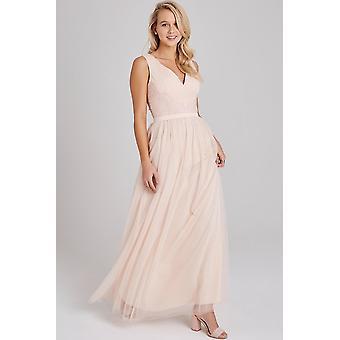 Little Mistress Bea Nude Lace-Trim Maxi Dress