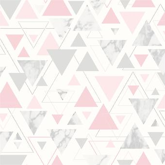 Geometric 3D Effect Wallpaper Marble Triangles Pink Grey Chantilly Debona