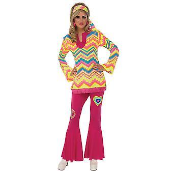 Mod Girl Go Go Go Go Go 1960er 1970er Jahre Hippie Hippie Retro Disco Erwachsene Damen Kostüm