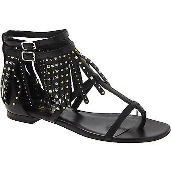 Saint Laurent flats sandals black leather fringe