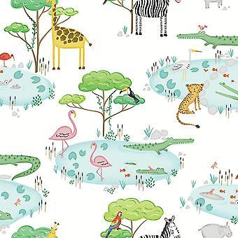 Crocodile Lake Children's Wallpaper White Animal Print Hippo Zebra Holden Decor
