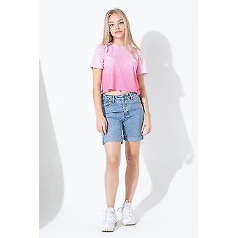Hype Pink Speckle Fade Kids Crop T-Shirt
