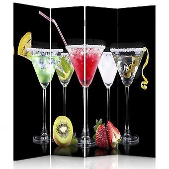 Room Divider, 4 Panels, Double-Sided, 360 ° Rotatable, Canvas, Drinks And Fruits 2