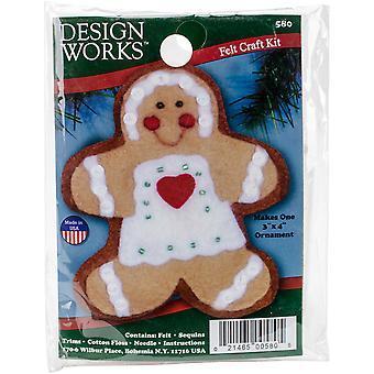 Gingerbread Girl Ornament Felt Applique Kit-3